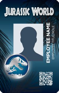 jurassic world id card template jurassic world id badges universe jurassic