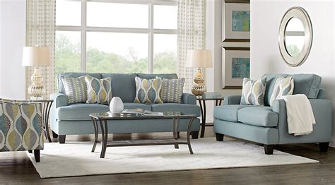 cypress gardens blue 7 pc living room living room sets