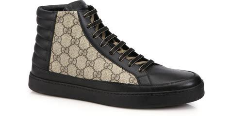 gucci leather high top sneaker black gucci gg supreme canvas leather high top sneakers in