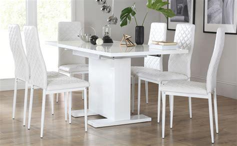 osaka white high gloss extending osaka white high gloss extending dining table with 6 renzo white chairs white legs only 163 499