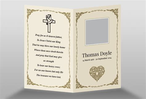 template for a memory card for a funeral free memorial card template in indesign format