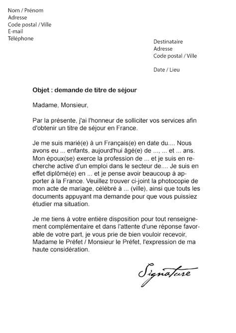 lettre de demande de titre de sejour modele de lettre