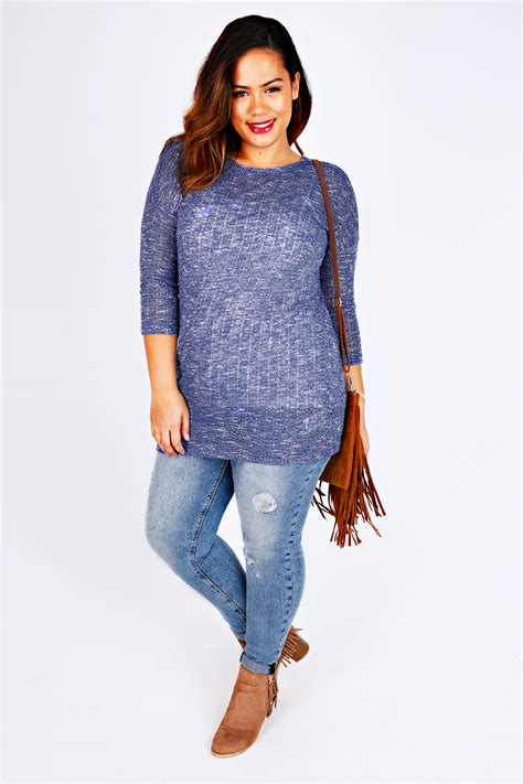 Top Knit 26 blue white textured knit slouch top with 3 4 sleeves plus size 14 to 32
