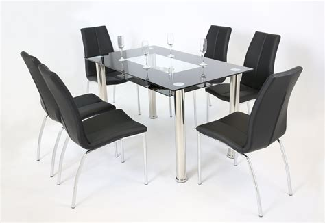 Black And Clear Glass Dining Table And 6 Chairs Homegenies Clear Glass Dining Table And 6 Chairs