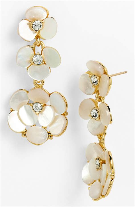 Kate Spade Disco Pansy Chandelier Earrings In Gold Cream Kate Spade Chandelier Earrings