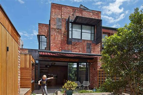 Modern Brick House by Unique Modern House With Dark Brown Brick Outdoor Accent
