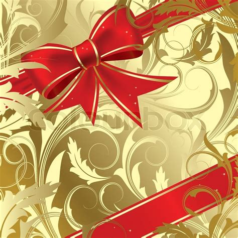 Red christmas bow on a gold background   Stock Vector