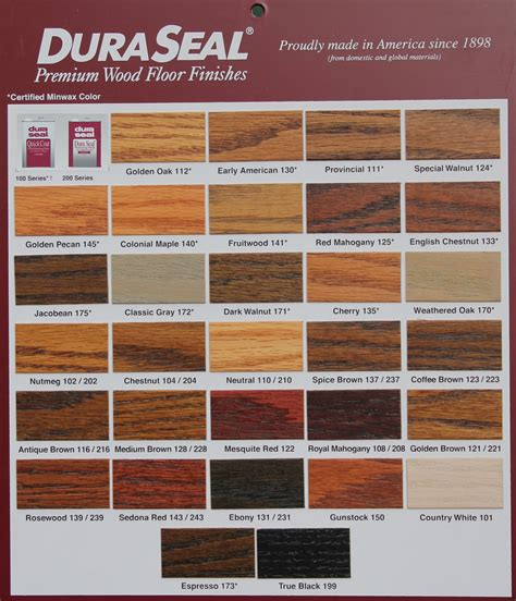 duraseal stain colors duraseal stain chart leese flooring supplies inc