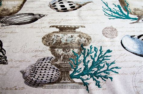 seashell upholstery fabric seashell coral fabric antique documentary toile blue
