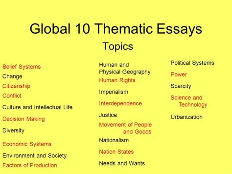 Nationalism Thematic Essay by Global 10 Thematic Essays Ppt