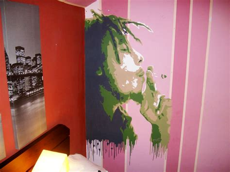 bob marley wallpaper for bedroom bob marley portrait painted on a bedroom wall by alin0090