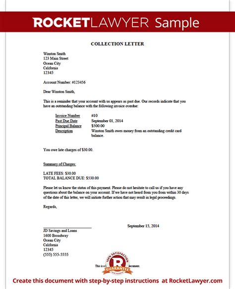 template for collection letter collection letter sle collection letter template