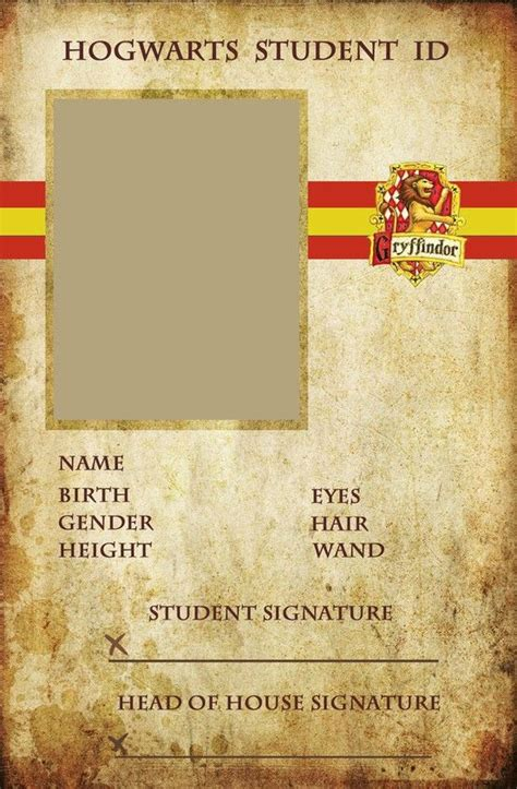 card template harry potter hogwarts student id card harry potter