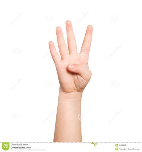 de la mano de 8416601070 la mano aislada del ni 241 o muestra el n 250 mero cuatro fotos de archivo imagen 35322033