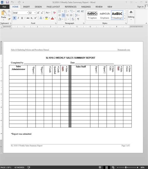 Sales Summary Template weekly sales report template vertola