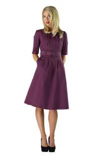 modest dress in plum purple