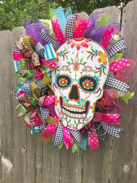 halloween wreath front door sugar skull wreath day