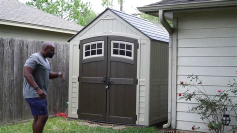 suncast sutton  ft resin storage shed youtube
