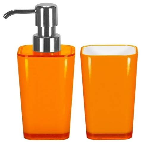 orange accessories bathroom accessories set 2 pieces liquid soap