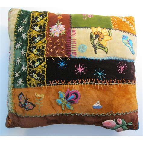 Velvet Patchwork Quilts - vintage quilt pillow velvet patchwork and