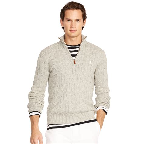 closeout polo ralph mens half zip mock neck cotton