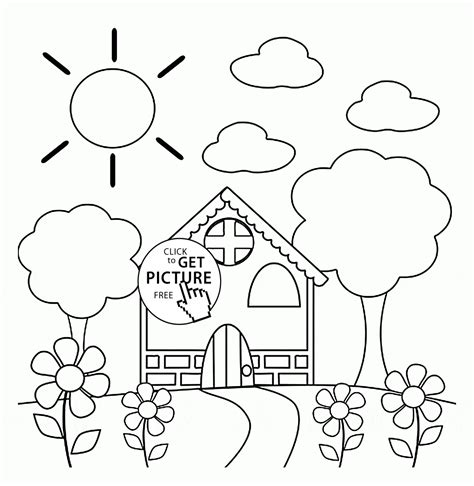 spring house coloring pages preschool house in spring coloring page for kids seasons