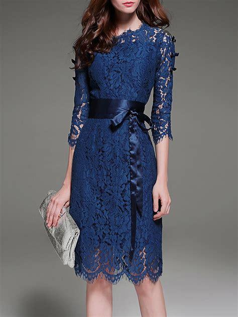 Sleeve A Line Lace Midi Dress stylewe blue midi dress a line dress 3 4 sleeve