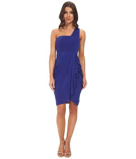 Blue Shoulder Dress 25059 lyst bcbgmaxazria julieta one shoulder dress in blue