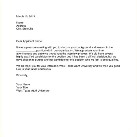 Rejection Letter Template Before Sle Of Rejection Letter After Cover Letter Exle