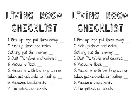 living room cleaning checklist gene green bean weekly saturday cleaning schedule