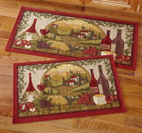 Wine Kitchen Rugs Wine Vineyard Kitchen Rug Set Ebay