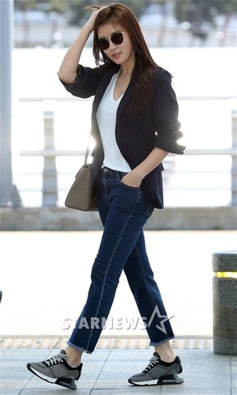 Ha Black ha ji won black jacket korean airport fashion korean
