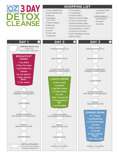 Printable Detox Smoothie Recipes by Dr Oz S 3 Day Detox Cleanse One Sheet The Dr Oz Show