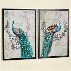 Peacock Wall Decor by Panache Peacock Framed Canvas Wall