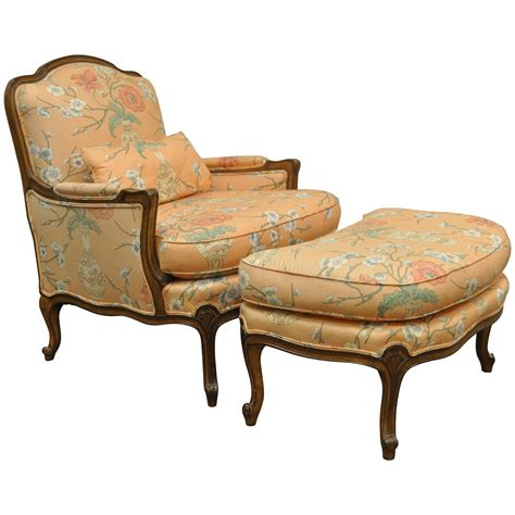 ottoman armchair 1950s french country louis xv style shell carved bergere