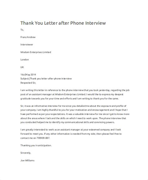 thank you letter after phone sle thank you letters for 7 exles in