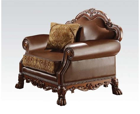cherry brown leather sofa dresden formal brown faux leather gold fabric chair in