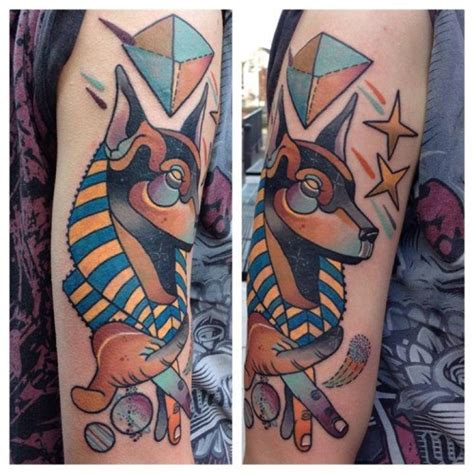 new school egyptian tattoo new school style colored arm tattoo of egypt god anubis