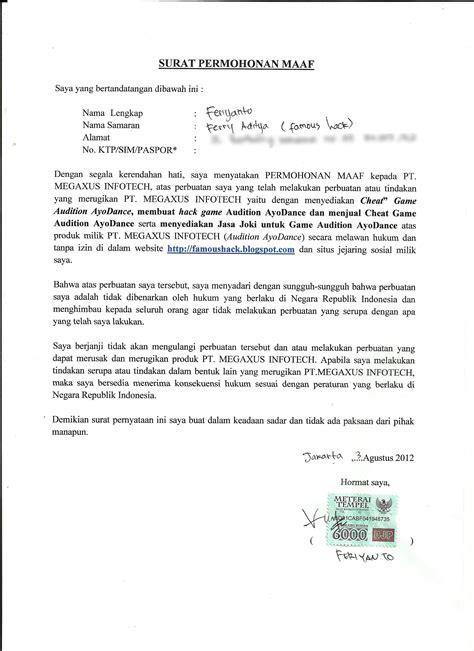surat permintaan maaf feriyanto untuk ayodance