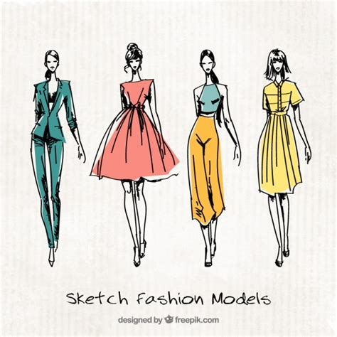 clothes vector design free download four cute sketches of fashion models vector free download