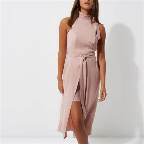 light pink midi dress lyst river island light pink high neck tie waist midi