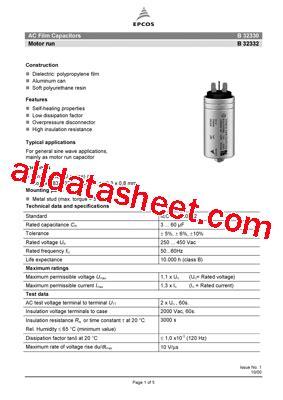 capacitor epcos b32327 b32330 데이터시트 pdf epcos