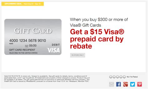 15 Rebate Through Scrapbookcom by Staples Easy Rebate On Visa Gift Cards September 4 10 2016