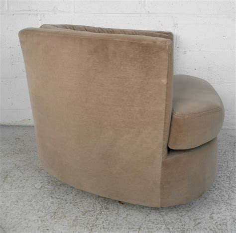 mid century modern milo baughman style barrel back swivel lounge chair at 1stdibs