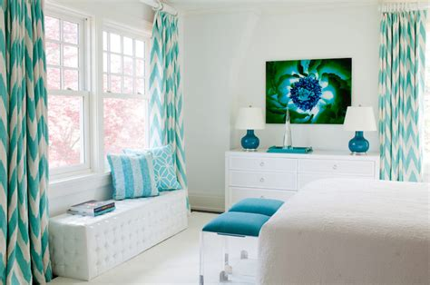 turquoise and white curtains turquoise drapes contemporary bedroom amanda nisbet