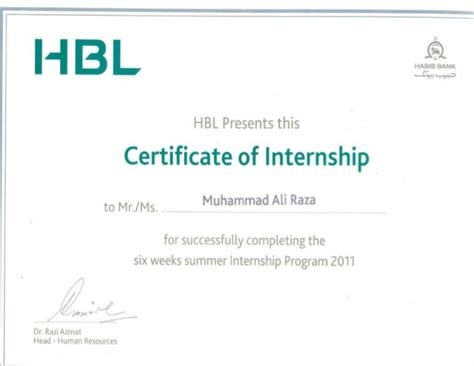 certification letter internship hbl internship certificate