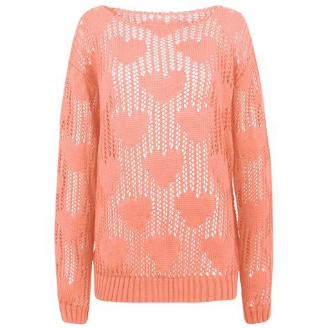crochet pattern ladies jumper womens ladies crochet mesh jumper sweater top heart