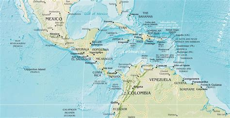 central america physical mapsof net