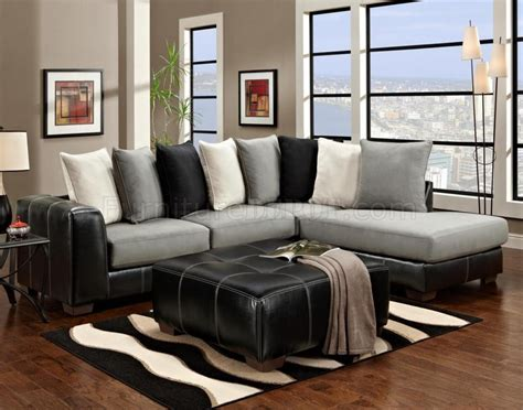 grey and black couch black vinyl grey fabric modern sectional sofa w options