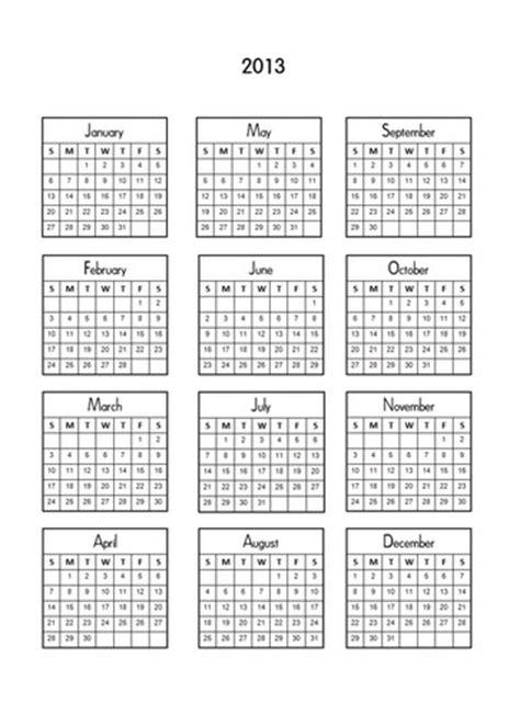 Mini Calendar Digital Printable 2013 Mini Calendars For